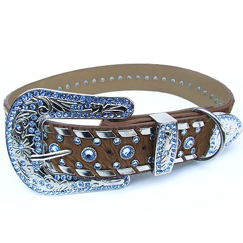 Exclusive leather collar with crystals - Sky Blue