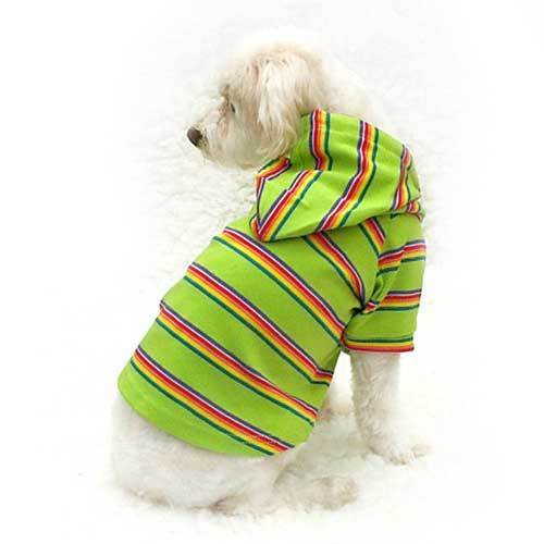 Fashionable T- shirt with stripes and hoodie - green