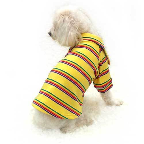 Lovely T- shirt with stripes and collar - yellow