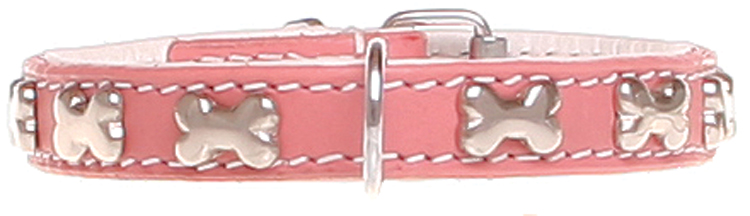 SPECIAL OFFER! Set of collar and leash with bones - pink