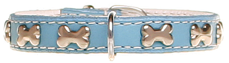 Leather collar with bones - baby blue