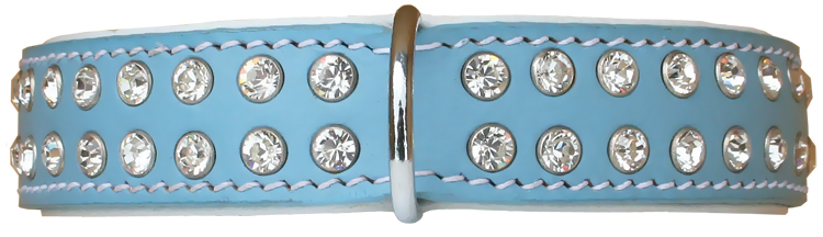 Leather collar with white crystals - blue